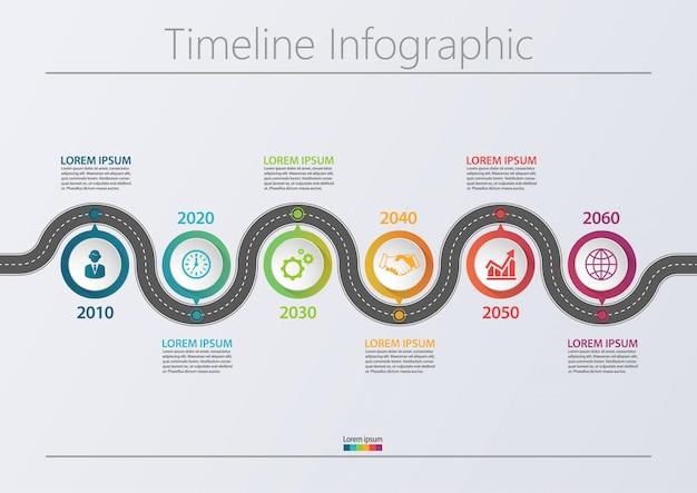 プレゼンテーションビジネスロードマップインフォグラフィックテンプレートには6つのオプションがあります。