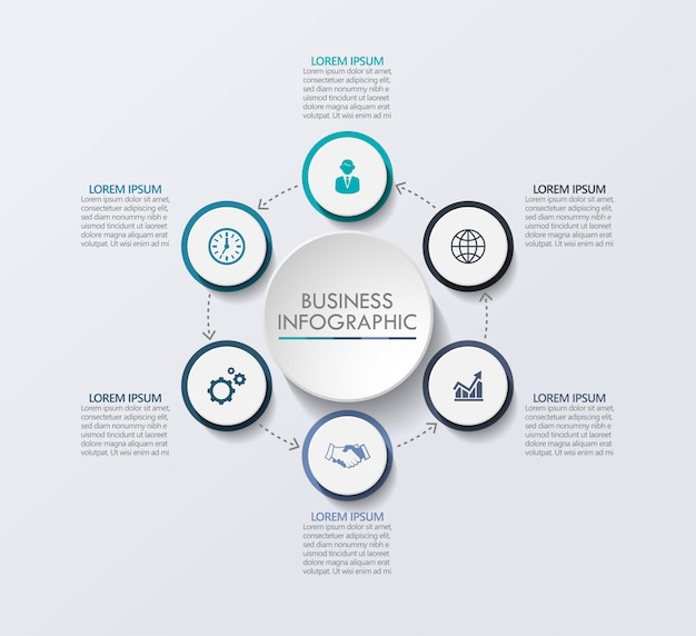 Презентация бизнес инфографики шаблон с 6 вариантами.