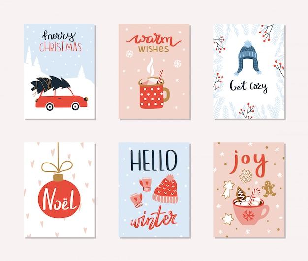 6つのメリークリスマスと新年の贈り物カードのセット。