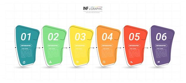 創造的なインフォグラフィック6ステップテンプレート