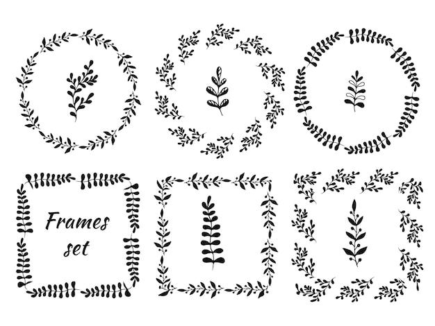 6つの円形と正方形のフレームの手描きのヴィンテージセット