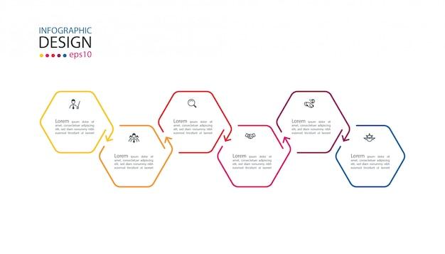 6ステップの六角形のインフォグラフィック