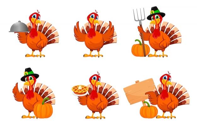 感謝祭の七面鳥、6つのポーズのセット