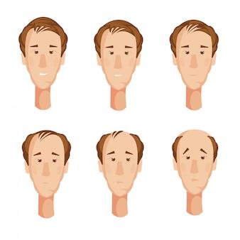 6つの孤立した漫画の男性キャラクターと絵コンテ