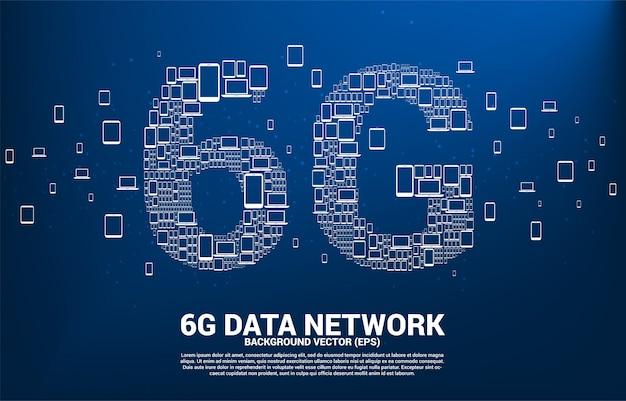 Технология данных 6g от значка устройства.