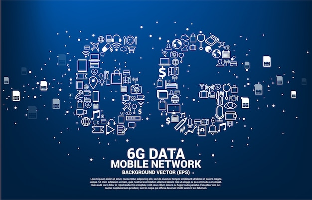 6g data technology from online function icon.
