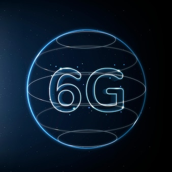 6g global connection technology blue in globe digital icon
