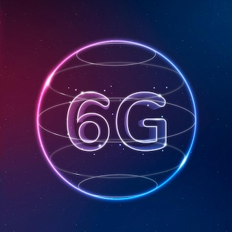 6g global connection technology neon in globe digital icon
