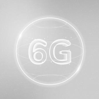 Tecnologia di connessione globale 6g bianca nell'icona digitale del globo