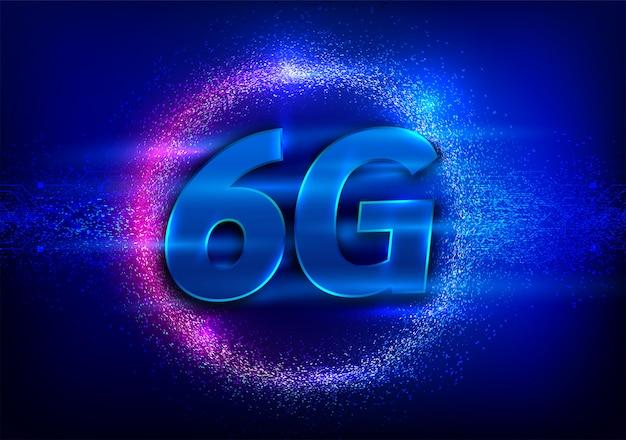 6gの新しい無線インターネットwifi接続。ビッグデータバイナリコードのフロー番号グローバルネットワーク高速イノベーション接続データレート技術ベクトルイラスト。