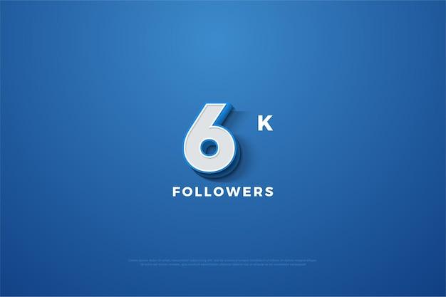 파란색 배경에 양각 된 3d 숫자가있는 6k 팔로워