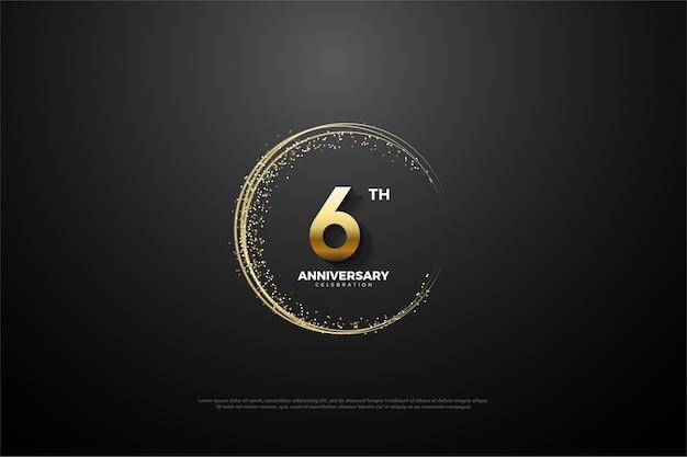 원형 황금빛 모래가있는 6 주년 기념 배경