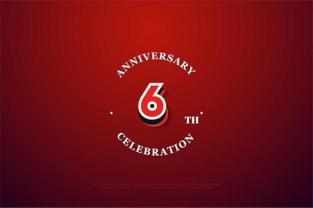 현대 낙서 번호가있는 6 주년 기념 배경