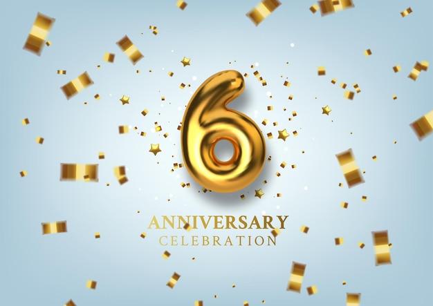 6 주년 기념 황금 풍선 형태의 번호.
