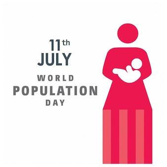 赤ちゃんの7月11日、世界人口の日と母