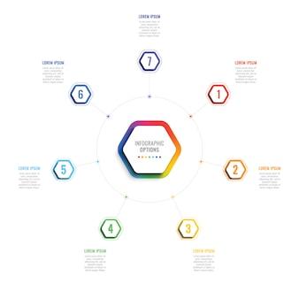 六角形の要素を持つ7つのステップ3 dインフォグラフィックテンプレート。図、ワークフローのオプションを備えたビジネスプロセステンプレート
