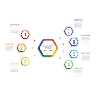 六角形の要素を持つ7つのステップ3 dインフォグラフィックテンプレート。オプション付きのビジネスプロセステンプレート