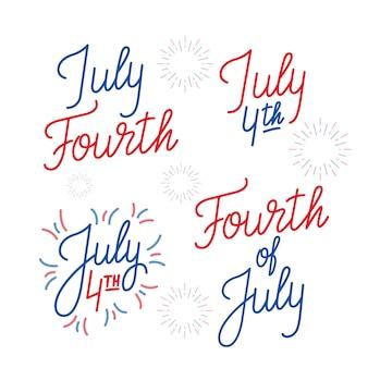 7月4日。 7月4日のアメリカ独立記念日のレタリングロゴのセット