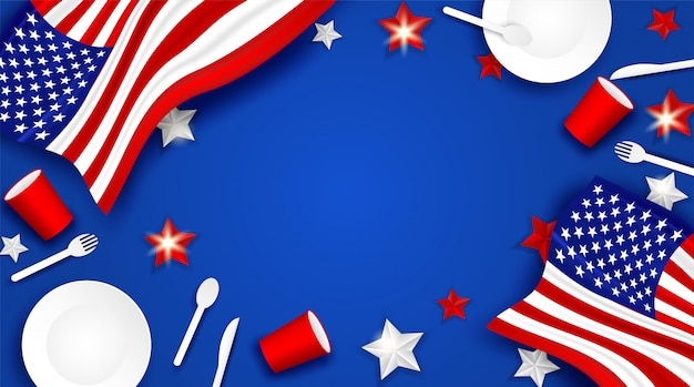 7月4日、ハッピーインディペンデントデーusa。スプーン、皿、フォーク、ナイフ、紙ガラス食器、アメリカ国旗の星の背景をデザインします。