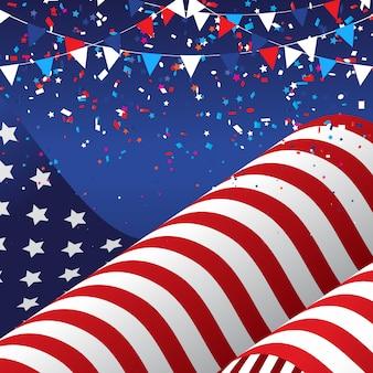 アメリカの国旗と7月4日アメリカ