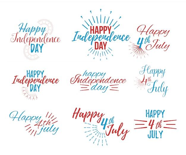 幸せな7月4日と独立記念日のレタリング