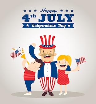 子供たちと一緒におじさんの漫画幸せ7月4日独立記念日のお祝いのイラスト