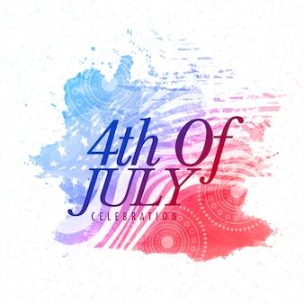 独立記念日のお祝いのための抽象的なアメリカの旗のスタイルの背景に7月のテキストデザインの4日。