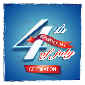 7月4日のテキスト、赤いリボンと光沢のある青色の背景。アメリカ独立記念日の創造的なポスター、バナーまたはチラシのデザイン。