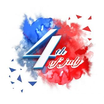 アメリカ独立記念日記念日のハーフトーンドット効果で、青と赤のスプラッシュの抽象的な7月4日のテキスト。