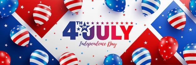 7月4日販売バナーテンプレート。アメリカの風船の旗とアメリカ独立記念日のお祝い。