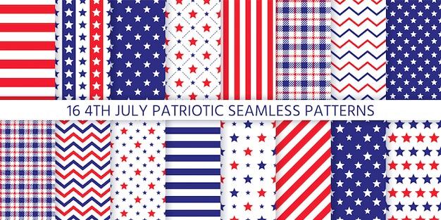 アメリカの愛国的なシームレスパターン。図。 7月4日、青、赤のプリント。