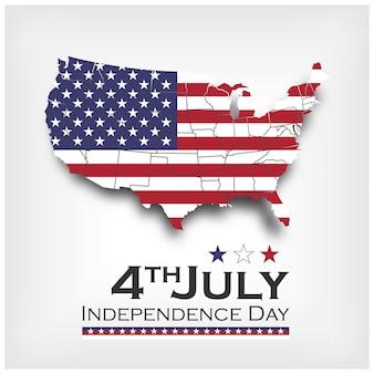 アメリカの地図と国旗。アメリカ独立記念日7月4日。ベクトル