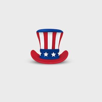 愛国心が強いアンクルサムハットが分離されました。装飾、アメリカンホリデー、独立記念日、7月4日のデザイン。正面図