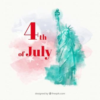 水彩スタイルの7月4日の独立記念日