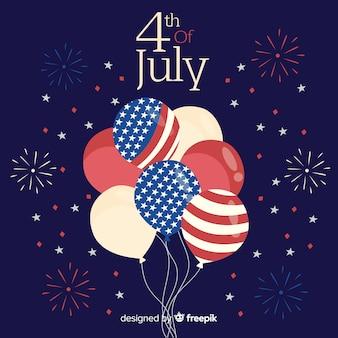 7月4日 - 独立記念日のバルーンの背景