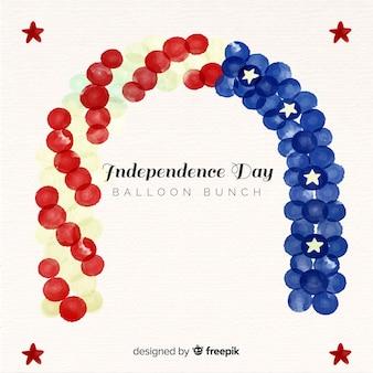水彩画の7月4日 - 独立記念日の背景と風船