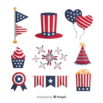 7月 - 独立記念日の要素のコレクションの平らな第4回