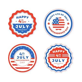 7月4日の独立記念日のラベルのセット