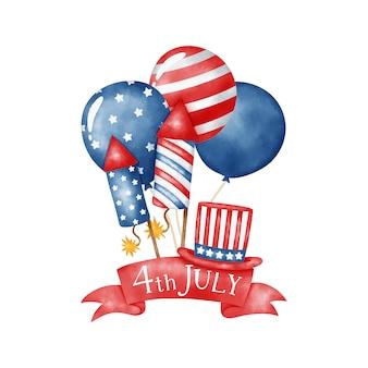 独立記念日の水彩バナー。 7月4日のバナー。