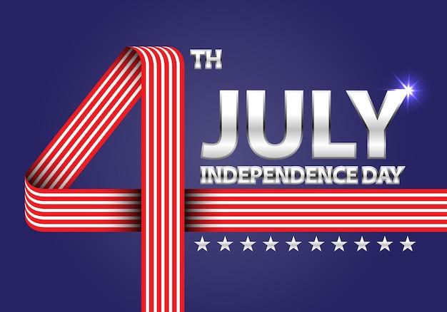 7月4日アメリカの赤い白いリボンの独立記念日青い背景に