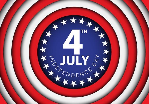 7月4日アメリカの休日のお祝いのベクトルのイラストの独立記念日