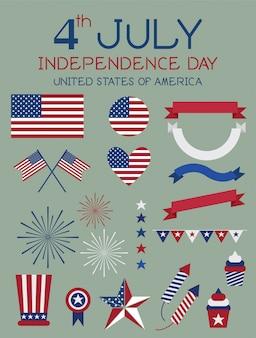 7月4日独立記念日のベクトル。