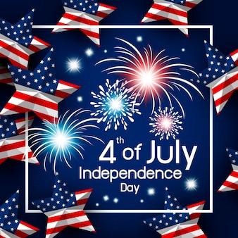 アメリカ7月4日の幸せな独立日ベクトル図