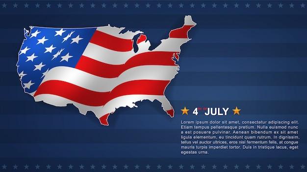 米国地図の7月4日のアメリカ独立記念日。
