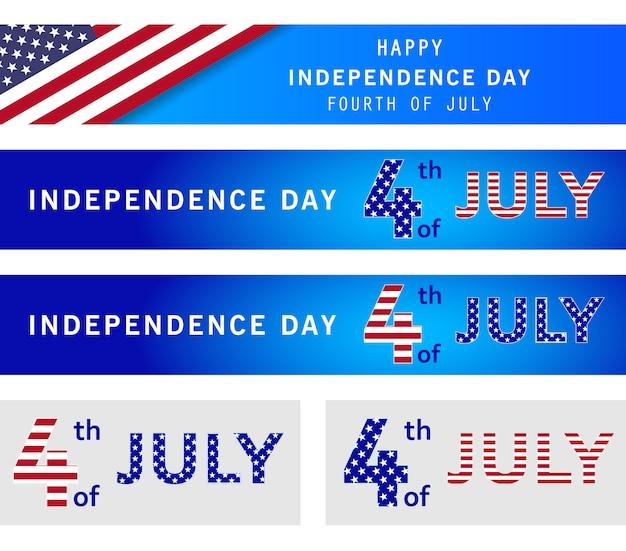 7月4日の休日バナーの設定。アメリカ独立記念日、ネイビーブルーの背景。記念日