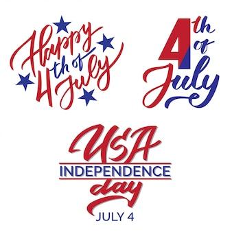 7月4日のグラフィックプリントセット、タイポグラフィ、レタリング、書道、アメリカ独立記念日のテキスト