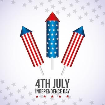 7月4日の幸せ独立記念日カード