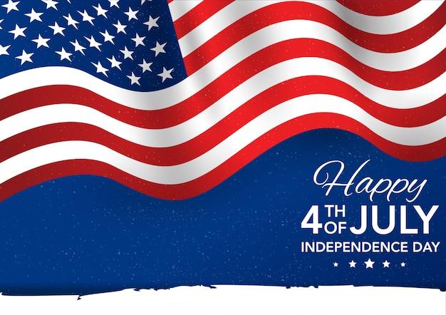 7月4日の独立記念日。旗イラスト
