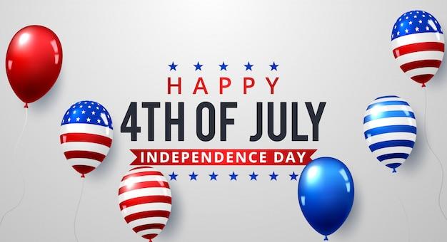 7月4日。休日のバナー。アメリカ独立記念日のバナー。