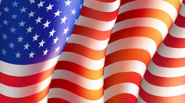 アメリカの国旗と7月4日の独立記念日。図